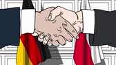 desenhado : Businessmen or politicians shake hands against flags of Germany and Poland. Official meeting or cooperation related cartoon animation