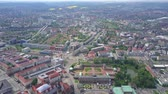 dresden : High altitude aerial panoramic shot of Dresden, Germany Stock Footage