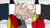 belga : Businessmen or politicians shake hands against flags of Germany and Belgium. Official meeting or cooperation related cartoon animation Vídeos