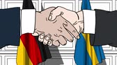 fogalmi : Businessmen or politicians shake hands against flags of Germany and Sweden. Official meeting or cooperation related cartoon animation