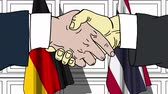 diplomat : Businessmen or politicians shake hands against flags of Germany and Thailand. Official meeting or cooperation related cartoon animation Stock Footage