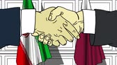 diplomat : Businessmen or politicians shake hands against flags of Iran and Qatar. Official meeting or cooperation related cartoon animation