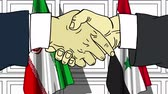 diplomat : Businessmen or politicians shake hands against flags of Iran and Syria. Official meeting or cooperation related cartoon animation