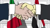 diplomat : Businessmen or politicians shake hands against flags of Italy and Egypt. Official meeting or cooperation related cartoon animation