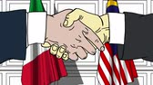 diplomat : Businessmen or politicians shake hands against flags of Italy and Malaysia. Official meeting or cooperation related cartoon animation