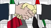 diplomat : Businessmen or politicians shake hands against flags of Italy and UAE. Official meeting or cooperation related cartoon animation