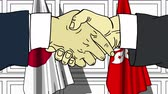 diplomat : Businessmen or politicians shake hands against flags of Japan and Hong Kong. Official meeting or cooperation related cartoon animation
