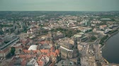 sloping : Aerial view of historic part of Dresden, Germany