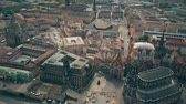 sloping : Aerial view of central part of Dresden, Germany Stock Footage