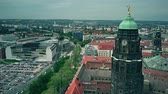 sloping : DRESDEN, GERMANY - MAY 2, 2018. Aerial view of City Hall clock tower and the townscape