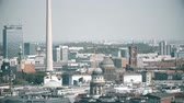 rooftop : BERLIN, GERMANY - APRIL 30, 2018. Cityscape involving TV tower telephoto shot