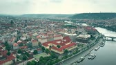 sloping : Aerial shot of the city of Prague involving Vltava riverbank, the Czech Republic