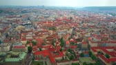 ancient tv : High altitude aerial view of Prague rooftops, the Czech Republic