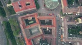 flat roof : Aerial top down view of historic buildings in Dresden centre, Germany