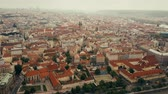 sloping : Aerial view of Prague centre, the Czech Republic Stock Footage