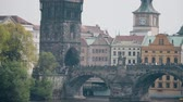 Влтава : Crowded Charles bridge across the Vltava river in Prague, the Czech Republic