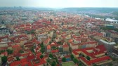 sloping : Aerial shot of Prague roofs, the Czech Republic