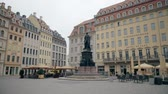 sloping : DRESDEN, GERMANY - MAY 2, 2018. Friedrich August II Monument in city centre Stock Footage
