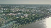 ecological : Aerial shot of Lake Malta and Poznan citycape, Poland