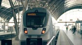 bilhete : Modern train to Marseille. Travelling to France conceptual intro clip Stock Footage