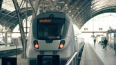 visita : Modern train to Valencia. Travelling to Spain conceptual intro clip Stock Footage