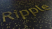 operational : Ripple word made of moving golden numbers. Cryptocurrency mining or transactions related conceptual animation