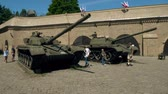 armored : POZNAN, POLAND - MAY 20, 2018. Soviet era tanks Stock Footage