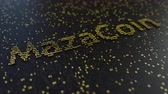расчет : MazaCoin word made of moving golden numbers. Cryptocurrency mining or transactions related conceptual animation
