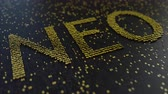 operational : NEO word made of moving golden numbers. Cryptocurrency mining or transactions related conceptual animation