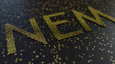 operational : NEM word made of moving golden numbers. Cryptocurrency mining or transactions related conceptual animation
