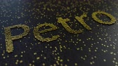 operational : Petro word made of moving golden numbers. Cryptocurrency mining or transactions related conceptual animation