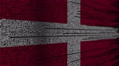 danish : Program code and flag of Denmark. Danish digital technology or programming related loopable animation