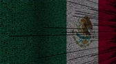 meksyk : Program code and flag of Mexico. Mexican digital technology or programming related loopable animation
