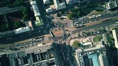 a major : Aerial top down view of city roundabout traffic Stock Footage