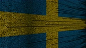 szwecja : Program code and flag of Sweden. Swedish digital technology or programming related loopable animation