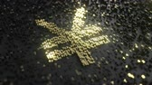 сумма : Japanese yen sign made of gold numbers. Conceptual animation