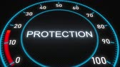 percentagem : Protection futuristic meter or indicator. Conceptual 3D animation