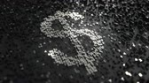 доллар : Dollar sign made of silver numbers. Conceptual animation Стоковые видеозаписи