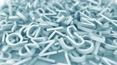 caracteres : Pile of blue letters. Conceptual 3D animation
