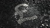 стерлинг : Pound sterling symbol made of silver numbers. Conceptual animation
