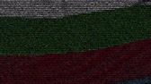 болгарский : Waving flag of Bulgaria made of text symbols on a computer screen. Conceptual loopable animation