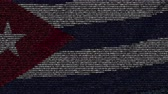 cubano : Waving flag of Cuba made of text symbols on a computer screen. Conceptual loopable animation
