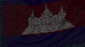 cambojano : Waving flag of Cambodia made of text symbols on a computer screen. Conceptual loopable animation