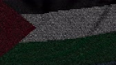 palestine : Waving flag of Palestine made of text symbols on a computer screen. Conceptual loopable animation Stock Footage