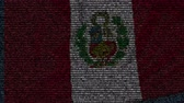 simbólico : Waving flag of Peru made of text symbols on a computer screen. Conceptual loopable animation Stock Footage