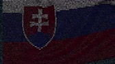Словакия : Waving flag of Slovakia made of text symbols on a computer screen. Conceptual loopable animation