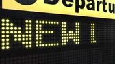 urlop : NEW LIFE words appearing on airport departure board. Conceptual 3D animation Wideo