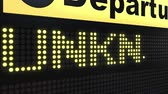 bilinmeyen : UNKNOWN word appearing on airport departure board. Conceptual 3D animation