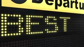 melhor : BEST PLACE words appearing on airport departure board. Conceptual 3D animation
