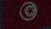 tunisian flag : Waving flag of Tunisia made of text symbols on a computer screen. Conceptual loopable animation